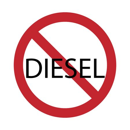 Vector silhouette no diesel cars access mark on white background. Symbol of transport, environmental, auto, traffic, warning,pollution. Stock Illustratie