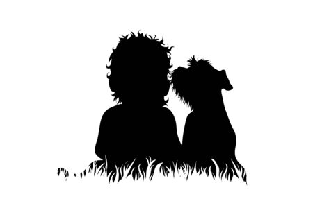 Vector silhouette of child who plays with dog in the grass on white background. Symbol of friends and funny activities,park.