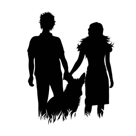 Vector silhouette of couple who walk with their dog in the grass with leash on white background. Symbol of animal, pet, friends,walk.