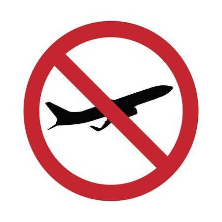 Vector silhouette no aircraft access mark on white background. Symbol of transport, airplane,travel,traffic,warning.