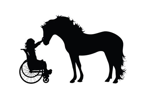 Silueta de vector de niño en silla de ruedas con caballo sobre fondo blanco. Símbolo de discapacidad, minusvalía, accidente, herido, niña, animal. Ilustración de vector