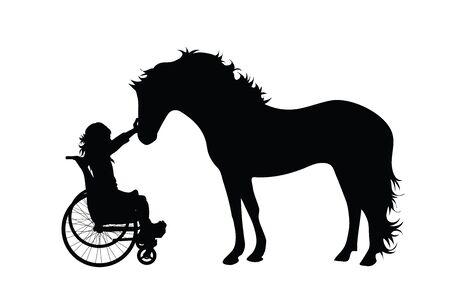 Siluetta di vettore del bambino sulla sedia a rotelle con il cavallo su priorità bassa bianca. Simbolo di disabili, handicap, incidenti, feriti, ragazze, animali. Vettoriali