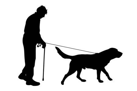 Vector silhouette of old man who walk with his dog with leash on white badkground. Symbol of animal, pet, friends,senior,walk.