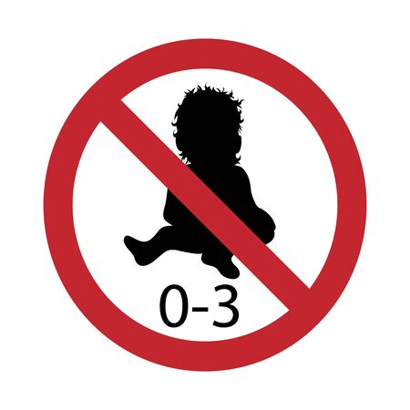 Vector silhouette not for children under 3 years on white background. Symbol of stop,prohibition,warning,child,