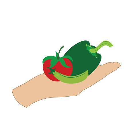 Vector illustration of a hand with tomato,pea,capcisum, on white background. Symbol of vegetable, vegetarian, food, crop, fresh, vegan.