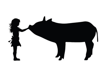 Vector silhouette of girl with pig on white background. Symbol of animal,friends,childhood,farm.