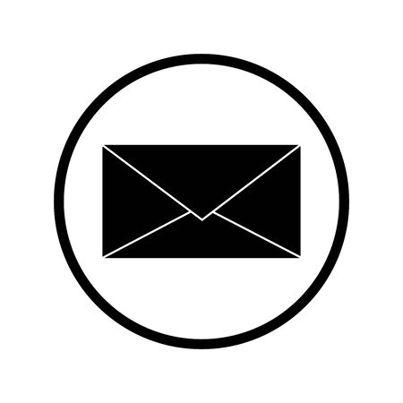 Vector silhouette of envelope on white background. Symbol of post office,cart,delivery,mail. Logo in round frame.