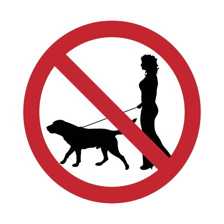 Vector silhouette no entry with dog mark on white background. Symbol of stop,prohibition,warning,animal,pet.