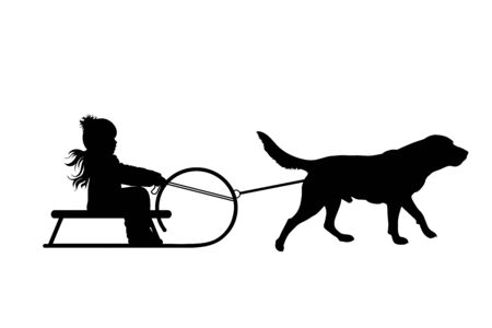 Vector silhouette of child who pulls dog on slegde on white badkground. Symbol of animal, pet, friends,winter, funny.