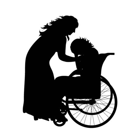 Vector silhouette of mother with her daughter who is on wheelchair on white background. Symbol of family, daughter, maternity,care, healthy,disabled, handicap. Illustration