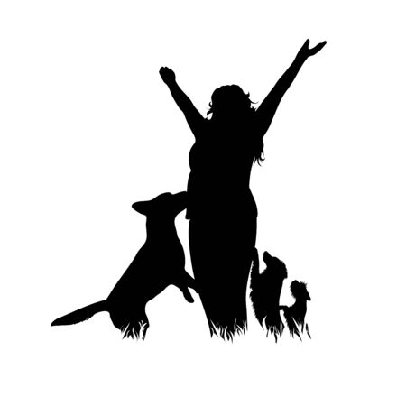 Vector silhouette of woman with dogs on white background. Symbol of girl, friends, animal, pet, sport. Illustration