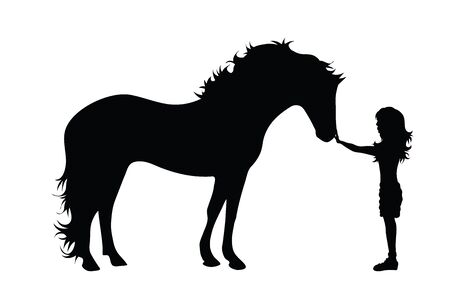 Vector silhouette of child with horse on white background. Symbol of friends,care, animal, girl.