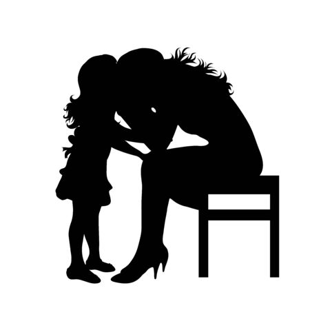 Vector silhouette of mother who is sad with her daughter on white background. Symbol of family,stress, daughter, maternity,cry.