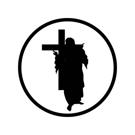Vector silhouette of Jesus with cross on white background. Symbol of christianity, religion, faith, trust. Logo in round frame.