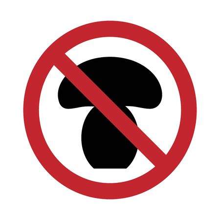 Vector silhouette no tear the mushrooms mark on white background. Symbol of stop, forest, eat, danger, prohibition, warning.
