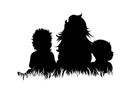 Silhouette vecteur d'enfants qui jouent ensemble dans l'herbe sur fond blanc. Symbole des frères et sœurs, de la famille, des amis.