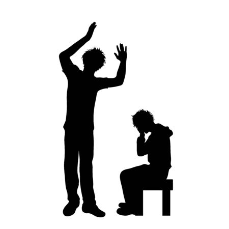 Vector silhouette of father who screaming on his son on white background, Symbol od angry, annoy, sad,problem. Illustration