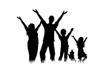 Vector silhouette of family with dog on white background. Symbol of mother, father, child,husband, wife,daughter,animal, pet,happy.