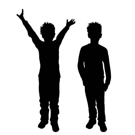 Vector silhouette of children´s friends on white background. Symbol of child, siblings,boy, brother,free, funny. 向量圖像