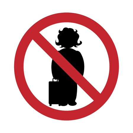 Vector silhouette no entry with suitcase mark on white background. Symbol of travel, transportation, baggage.