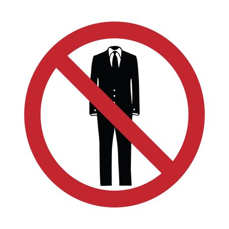 Vector silhouette no entry with suit mark on white background. Symbol of clothes,stop,prohibition,businessman,warning. Reklamní fotografie - 128937490