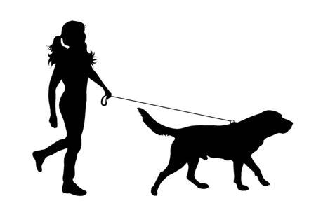 Vektorsilhouette eines Kindes, das mit ihrem Hund mit Leine auf weißem Badkground spazieren geht. Symbol für Tier, Haustier, Freunde, Spaziergang. Vektorgrafik