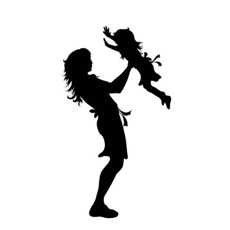 Vector silhouette of woman with her baby on white background. Symbol of family, mother, daughter, son,maternity.