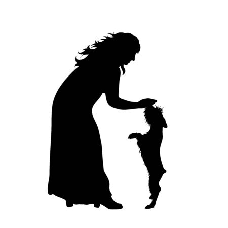 Vector silhouette of woman with dog on white background. Symbol of girl, friends, animal, pet, sport.