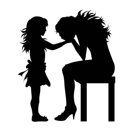 Vector silhouette of woman who sitting and crying with her daughter on white background. Symbol of family,sad, hopelessness, stress.