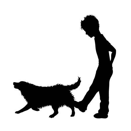 Silhouette vecteur de garçon qui donne un coup de pied au chien. Symbole de maltraitance animale.