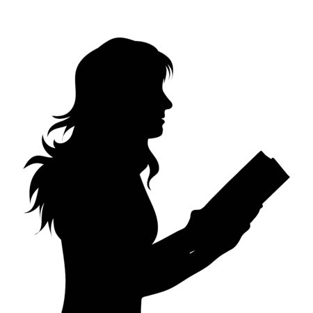 Vector silhouette of woman who read book on white background, Symbol of girl, study, student.