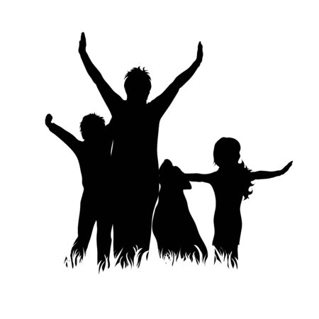 Vector silhouette of mother with her children and dog on white background. Symbol of family, daughter,son,siblings, happy,animal, pet.