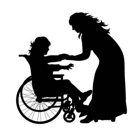 Silueta de vector de madre con su hija que está en silla de ruedas sobre fondo blanco. Símbolo de familia, hija, maternidad, cuidado, sano, discapacitado, minusvalía.