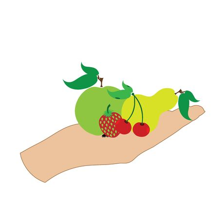 Vector illustration of a hand with apple, pear,cherries,strawberry on white background. Symbol of fruit, vegetarian, food, crop, fresh, vegan.  イラスト・ベクター素材