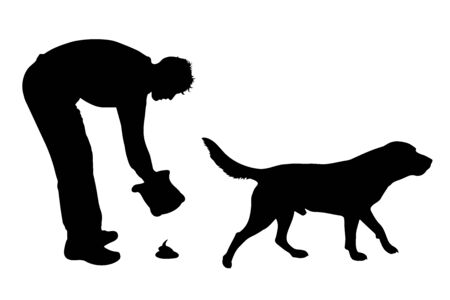 Vector silhouette of woman with her dog who makes poop on white background. Symbol of animal, pet, walk,park,excrement. Illustration