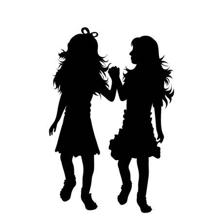 Vektor-Silhouette von Geschwistern auf weißem Hintergrund. Symbol für Familie, Tochter, Schwester, Freunde, Zwillinge.
