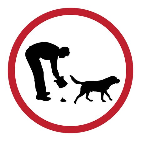 Vector silhouette of man with his dog who makes poop on white background. Symbol of animal, pet, walk,park,excrement.