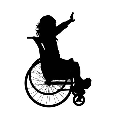 Vector silhouette of child on wheelchair on white background. Symbol of disabled, handicap,accident, injured,girl. Illustration