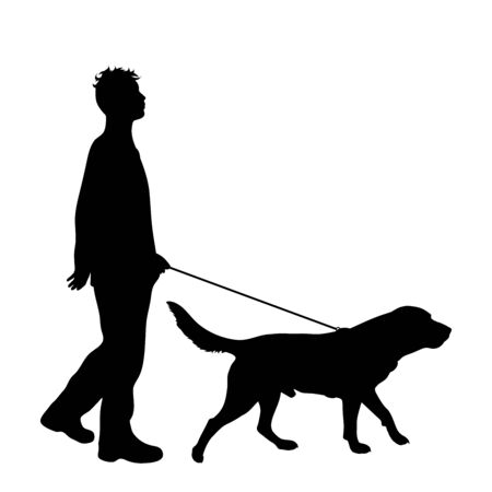 Vector silhouette of man who walk with his dog with leash on white badkground. Symbol of animal, pet, friends,walk. Иллюстрация