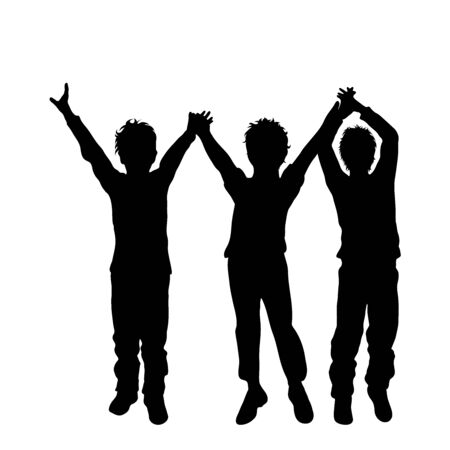 Vector silhouette of children´s friends on white background. Symbol of child, siblings,boy, brother,family,free,funny. 向量圖像
