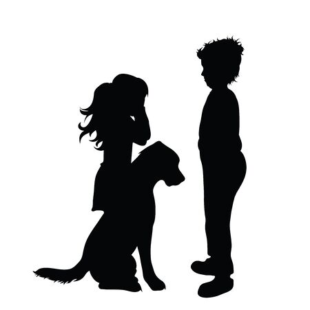 Vector silhouette of sad children on white background. Symbol of children, siblings, brothes, sister, cry,venom,sad,annoy. Ilustracja