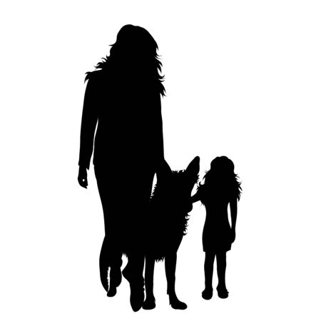 Vector silhouette of woman with her daughter and dog on white background. Symbol of family, mother, daughter, animal, pet. Çizim