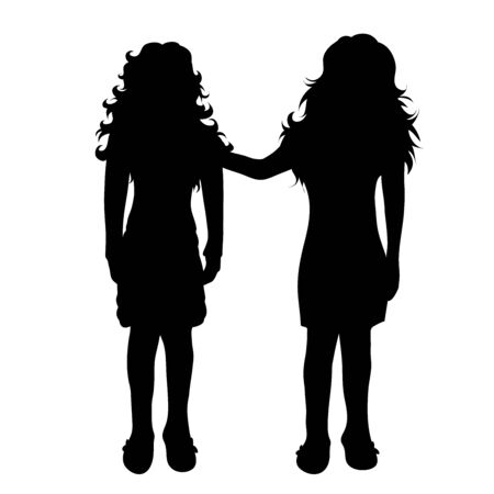 Vector silhouette of children´s friends on white background. Symbol of child, girl,siblings,sister.