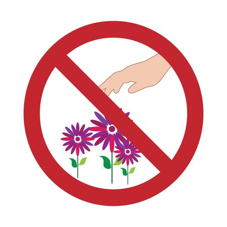 Vector illustration no tear the flower mark on white background. Symbol of stop,plant, park,prohibition,warning.