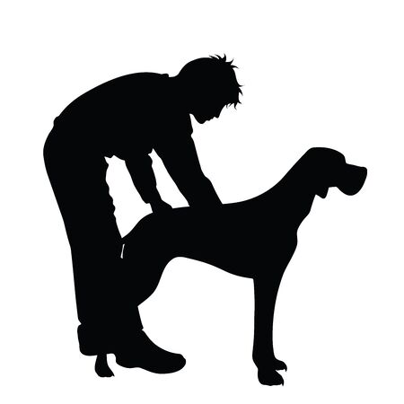 Vector silhouette of man who play with dogs on white background. Symbol of friends and funny activities.