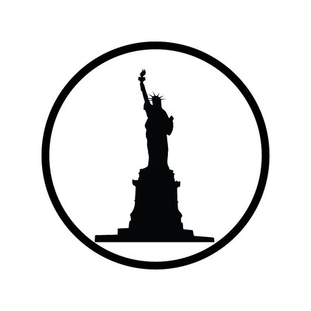 Vector silhouette of symbol of Statue of Liberty on white background. Sign of America, USA,New York. Logo in round frame.  イラスト・ベクター素材