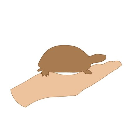 Vector illustration of a hand in a defensive gesture protecting a turtle. Symbol of animal,environmental, ecology, safe, care, protection.