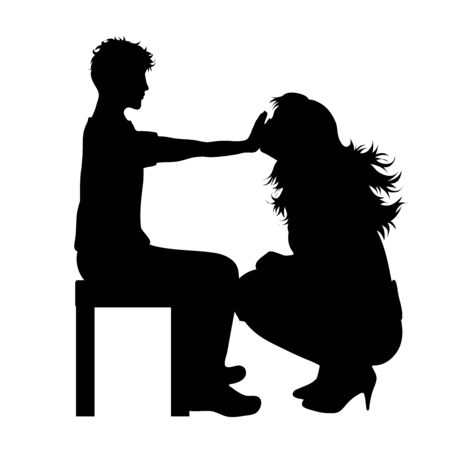 Vector silhouette of mother with her teenager son on white background. Symbol of family.