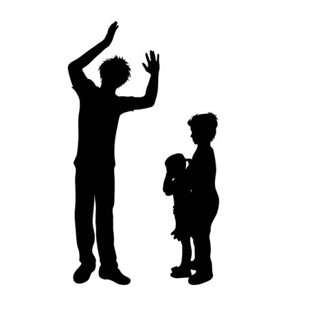 Vector silhouette of father who screaming on his family on white background, Symbol od angry, annoy, sad, problem, son, daughter. Ilustracja