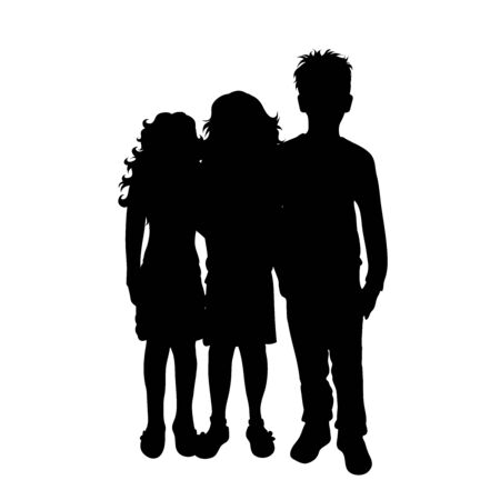 Vector silhouette of childrens friends on white background. Symbol of child, girl,siblings,sister,boy, brother.